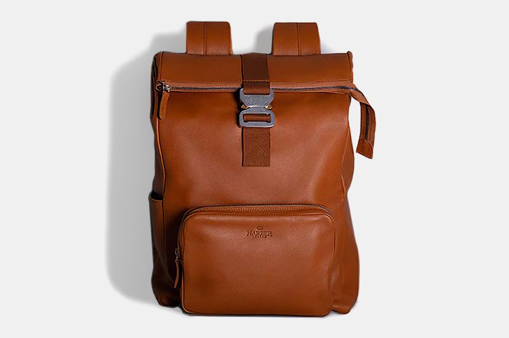 Harber London Leather Roll Top Backpack