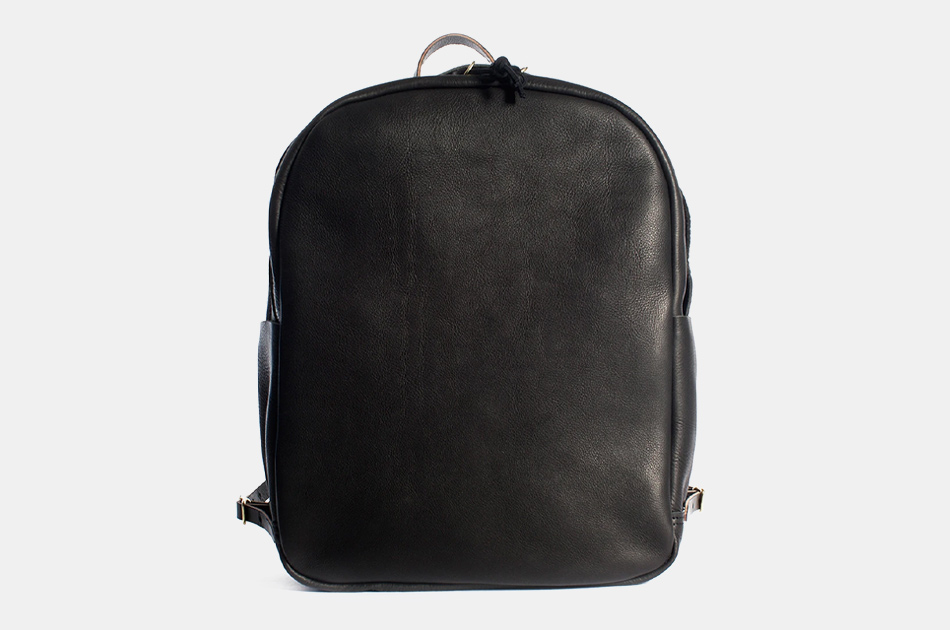 Joshu + Vela Zip Backpack in Black Leather