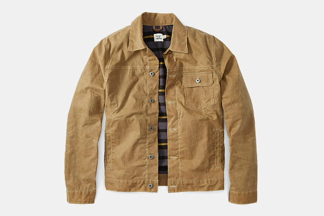 Flint and Tinder Flannel-Lined Waxed Trucker Jacket