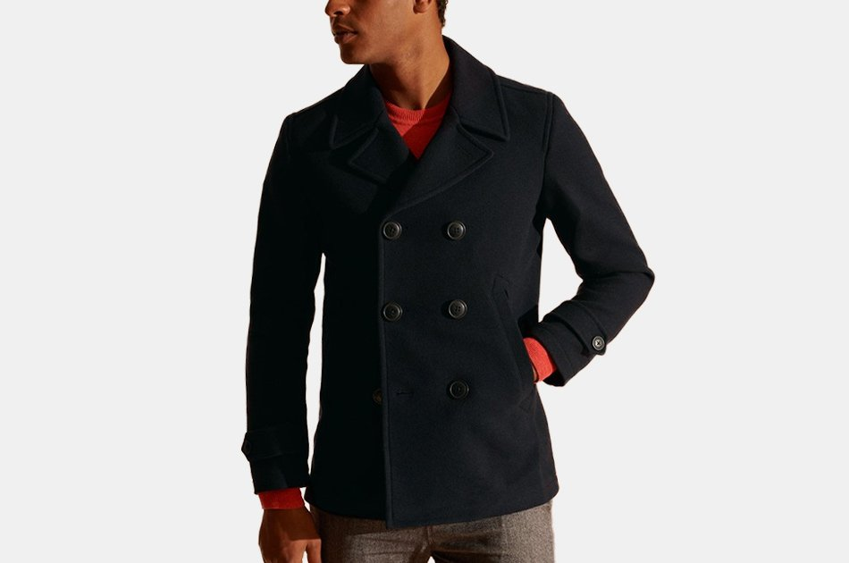 Superdry Foundation Double Breasted Peacoat