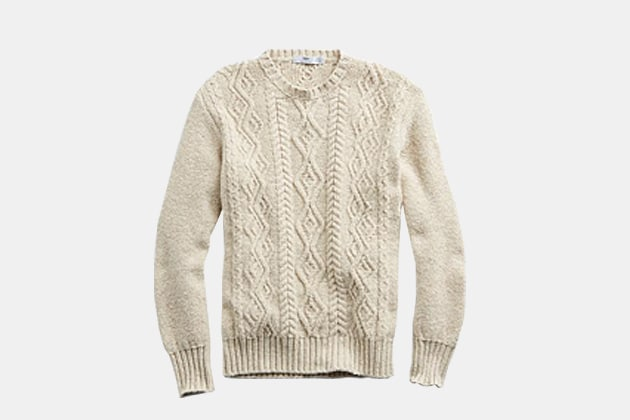 Inis Meaian Classic Cable Crewneck Sweater