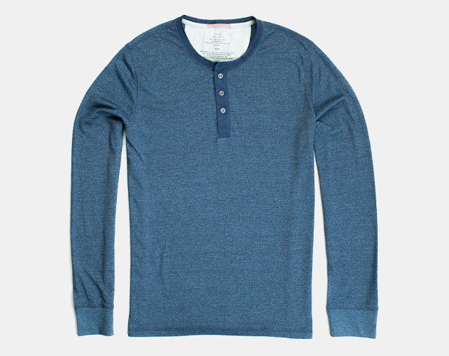Apolis Standard Issue Longsleeve Henley in Raw Indigo