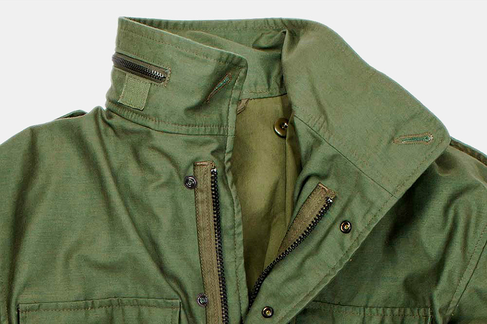 Military field jacket in ripstop fabric with 4 pockets