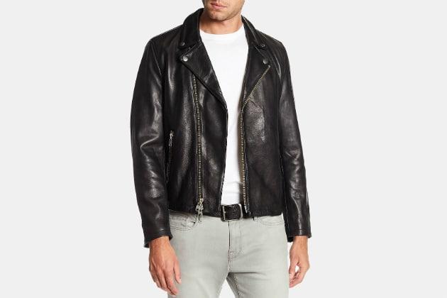 Frame Denim Leather Moto Jacket
