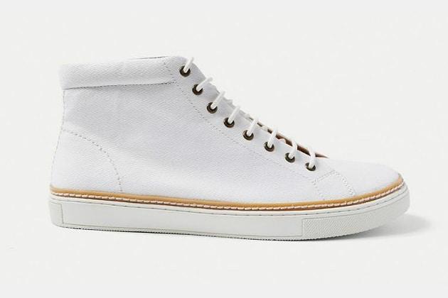 Frank & Oak Cotton Twill Hi-Top Sneakers in Off-White