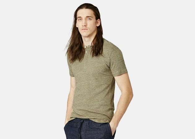 Frank & Oak Linen-Blend Henley T-Shirt in Military Heather