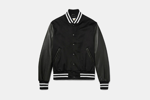 Golden Bear Leather and Wool Bomber Jacket