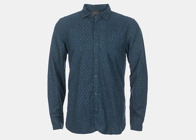 JACHS NY Printed Indigo Slub Chambray Shirt
