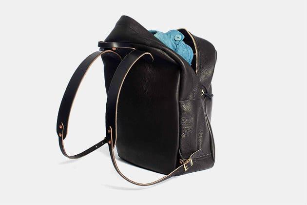 Joshu + Vela Zip Backpack in Black Leather