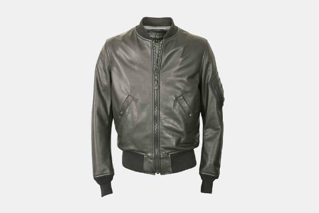 Schott Lightweight Leather MA-1 Bomber Jacket