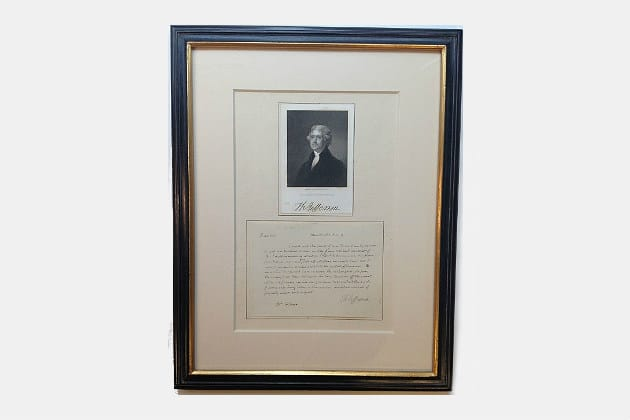Thomas Jefferson Letter Signed During the War of 1812