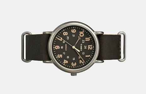 Timex Black Leather Weekender