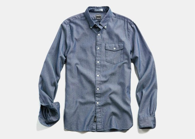 Todd Snyder Italian Oxford Patch-Pocket Shirt in Blue