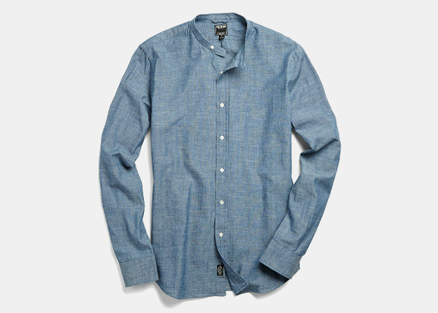 Todd Snyder Band Collar Shirt in Indigo Chambray