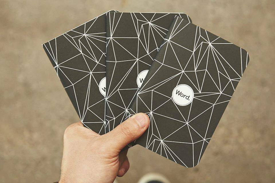 Word. Notebooks Black Polygon