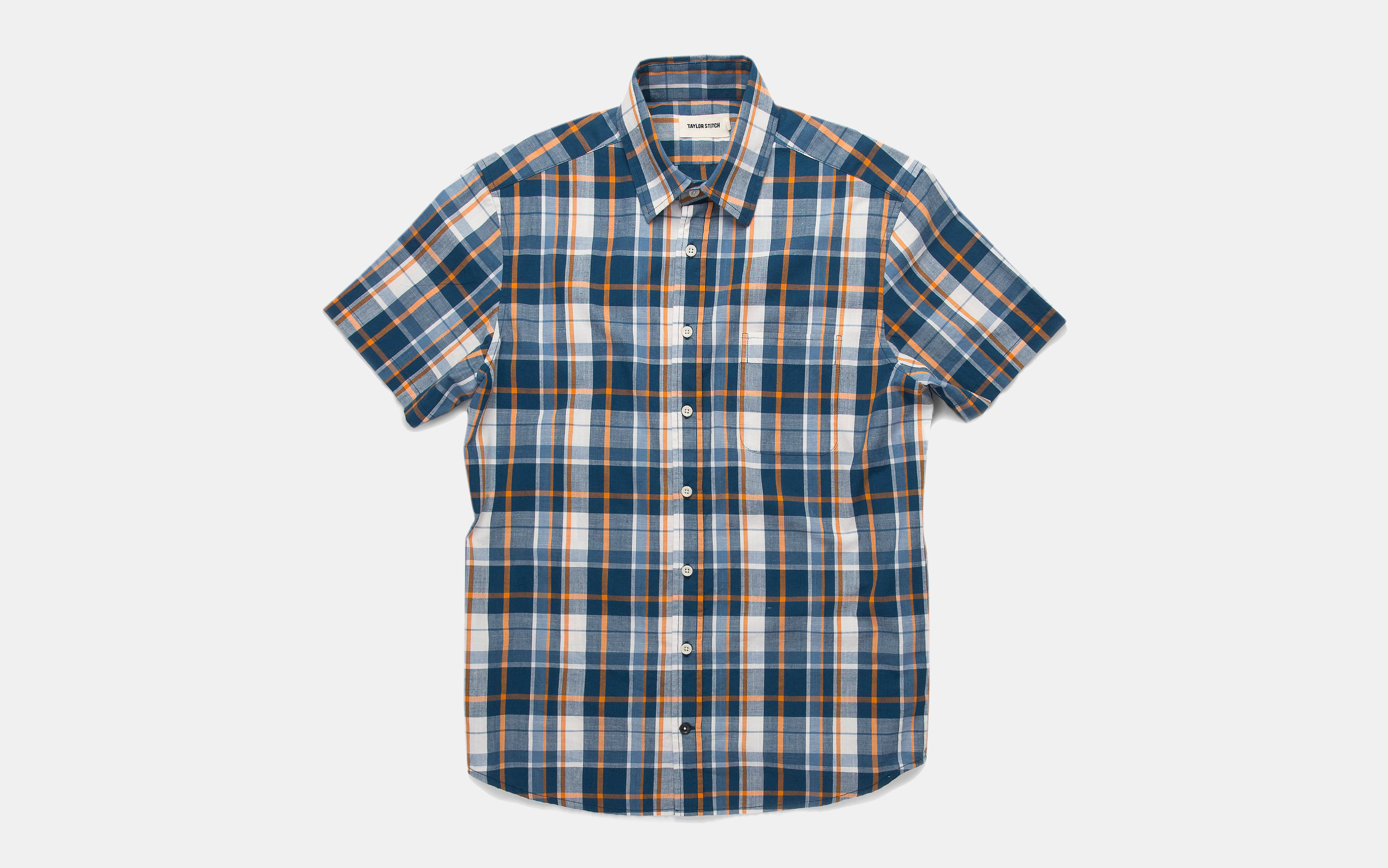 Taylor Stitch Short Sleeve California in Blue Madras