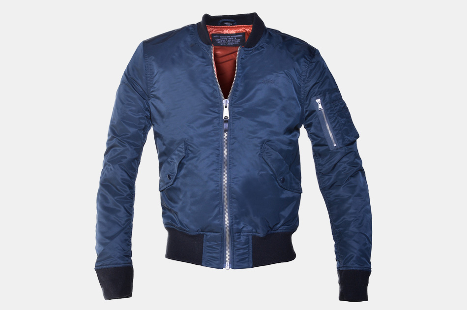 Schott Slim-Fit Nylon Flight Jacket