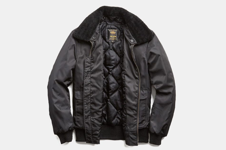 Todd Snyder + Golden Bear Shearling Collar Bomber Jacket