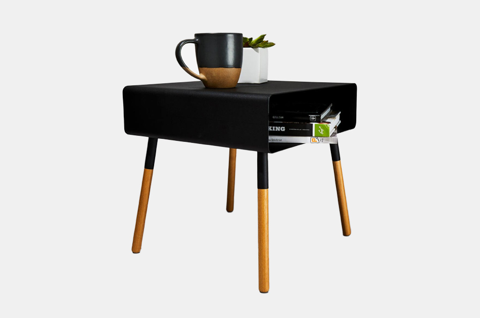 Yamazaki Black Steel & Wood Low Bedside Table