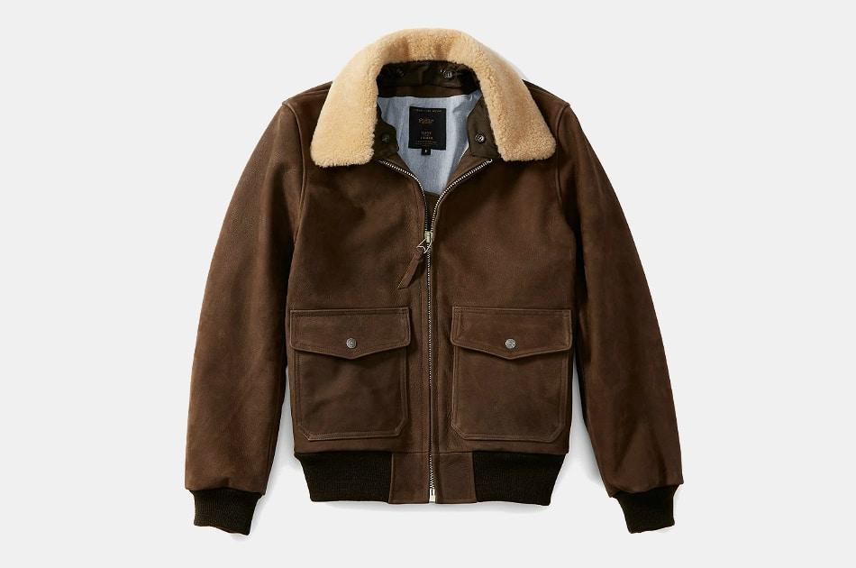 Flint and Tinder x Golden Bear Leather Bomber Jacket