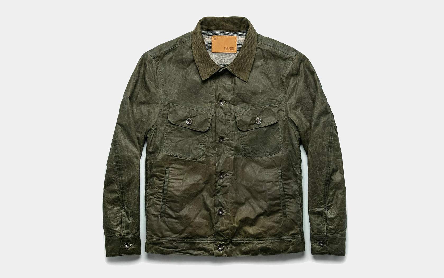 Taylor Stitch Lined Long Haul Jacket in Olive Waxed Canvas