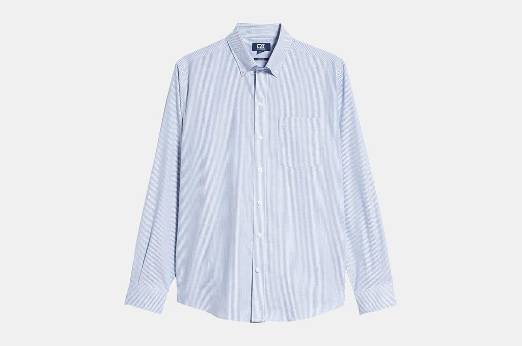 Cutter & Buck Classic Fit Stripe Stretch Oxford Shirt