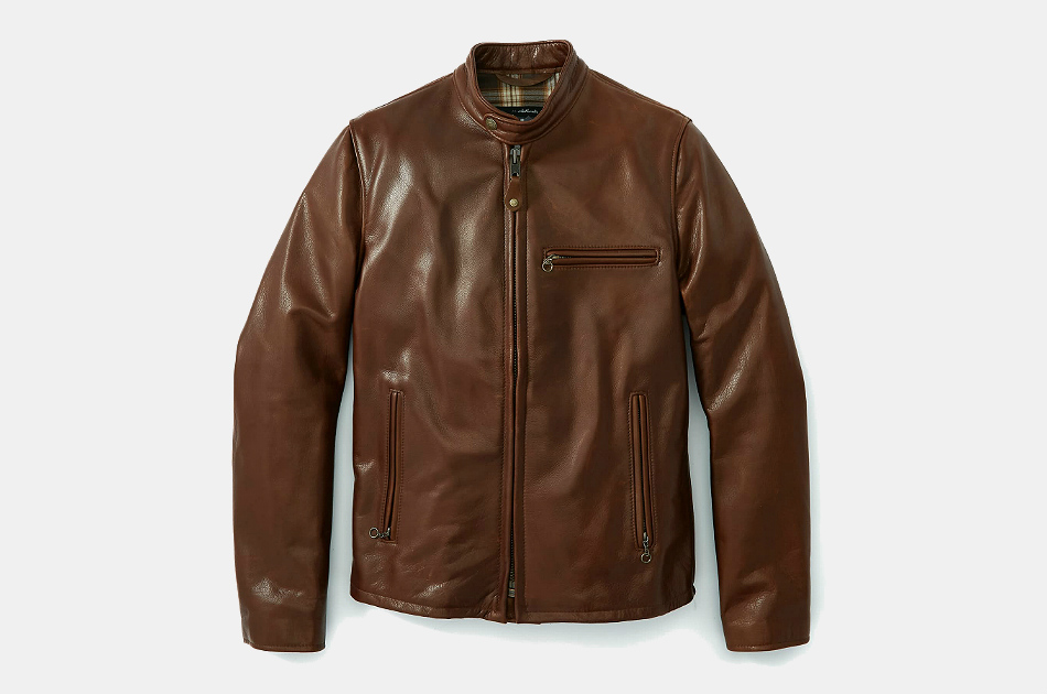 Schott Waxed Natural Pebbled Cowhide Café Leather Jacket