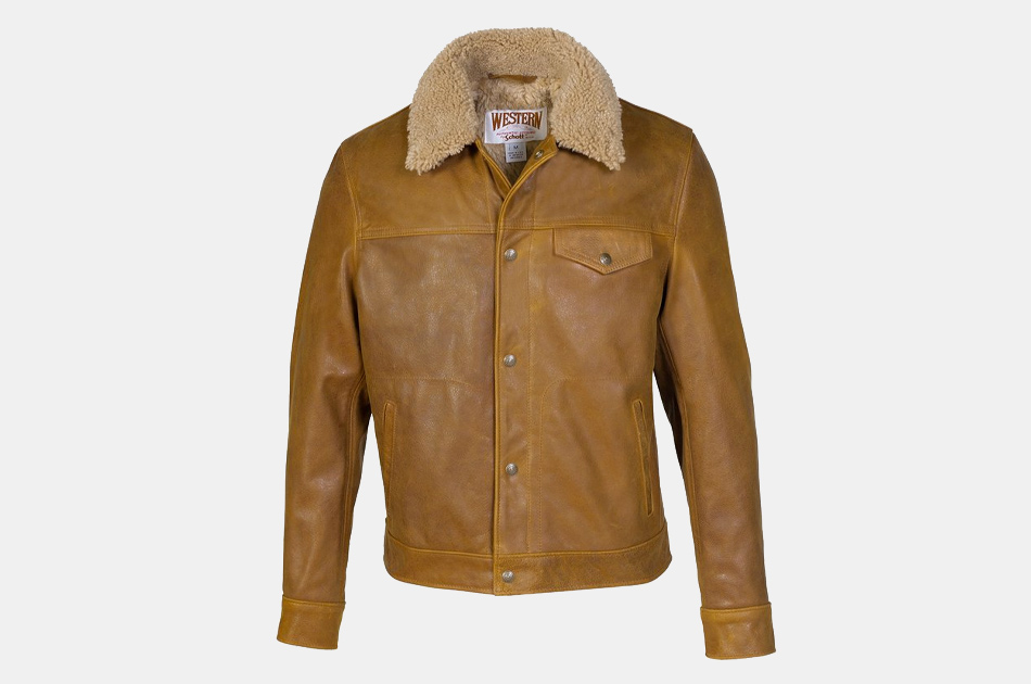 Schott Waxy Naked Buffalo Trucker Jacket