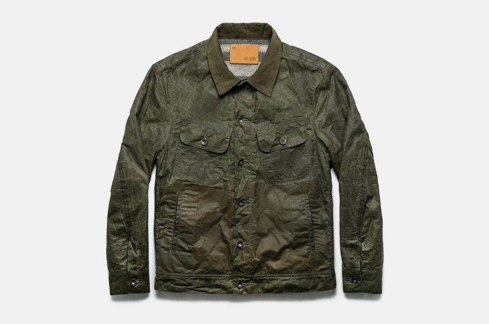 Taylor Stitch Long Haul Jacket in Olive Waxed Canvas