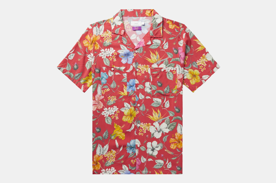 ONIA + Liberty London Vacation Camp-Collar Floral-Print Voile Shirt