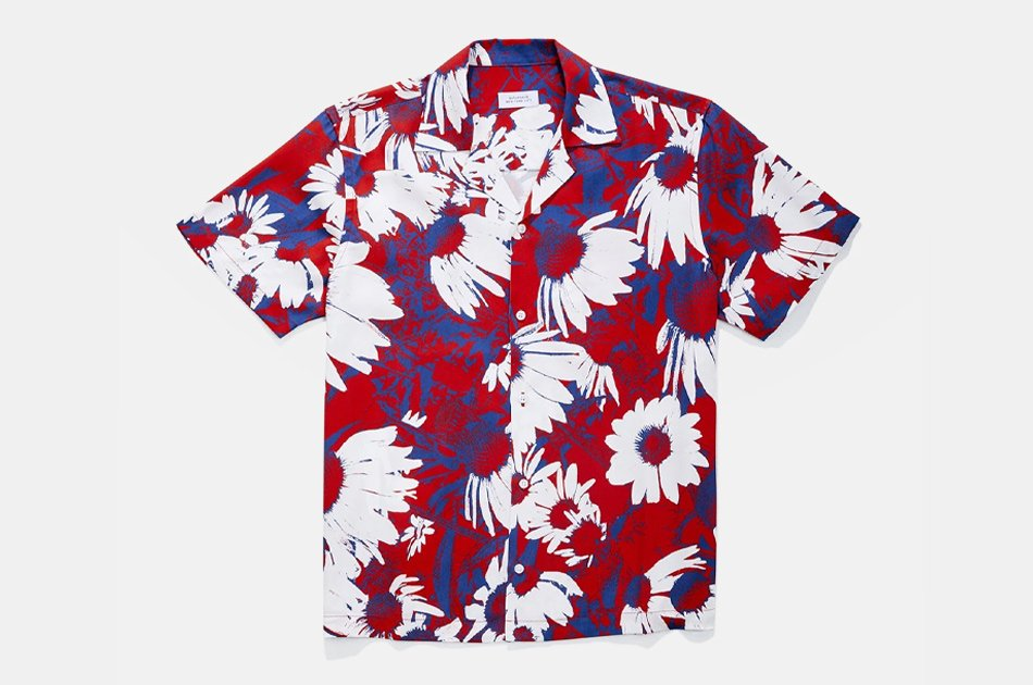 Saturdays NYC Canty Daisy Print Short Sleeve Shirt