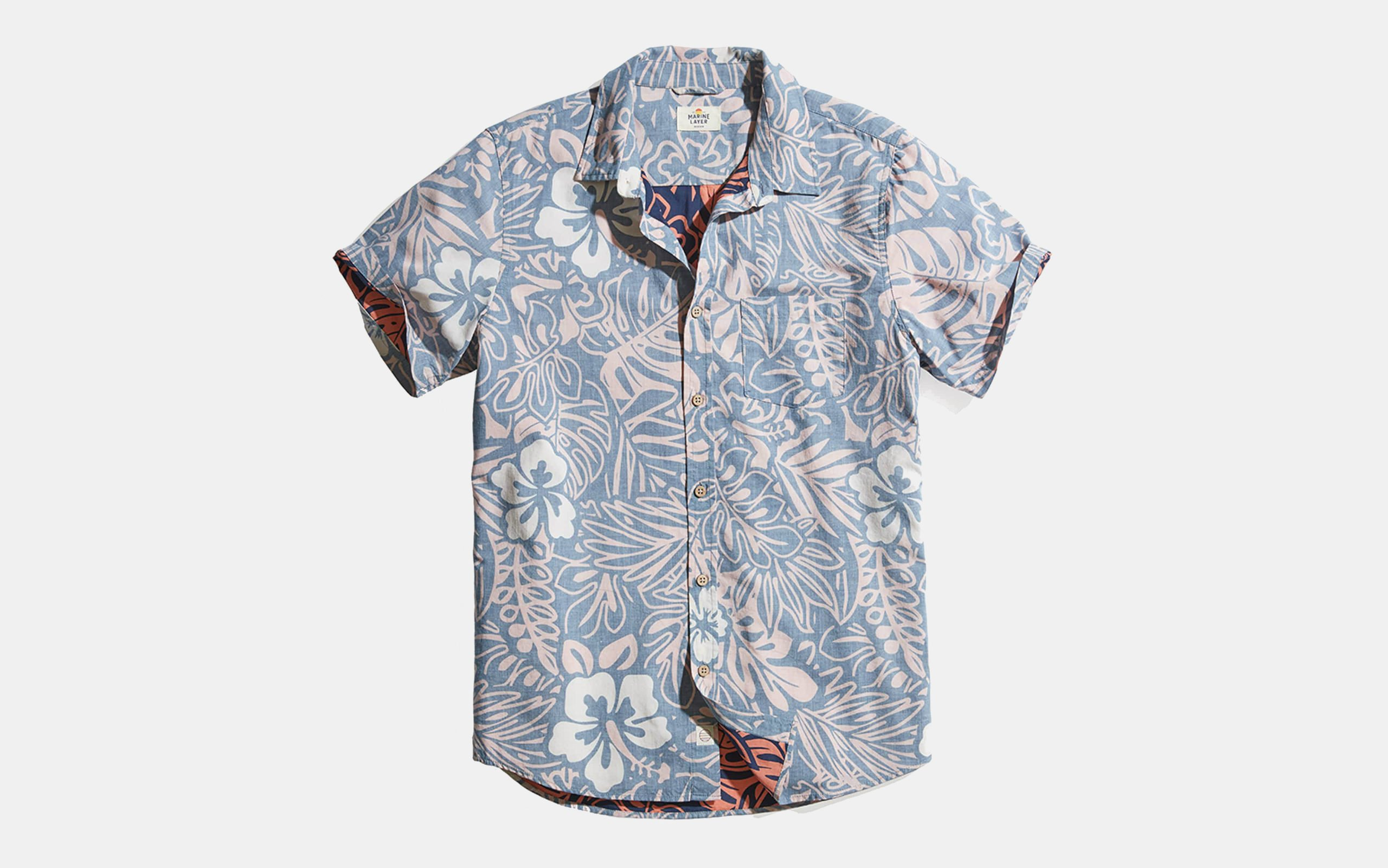 Marine Layer Vintage Hawaiian Print Button Down