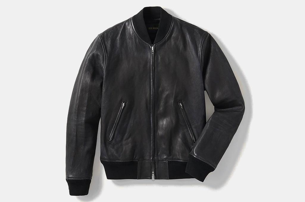 Buck Mason bruiser Leather Bomber Jacket