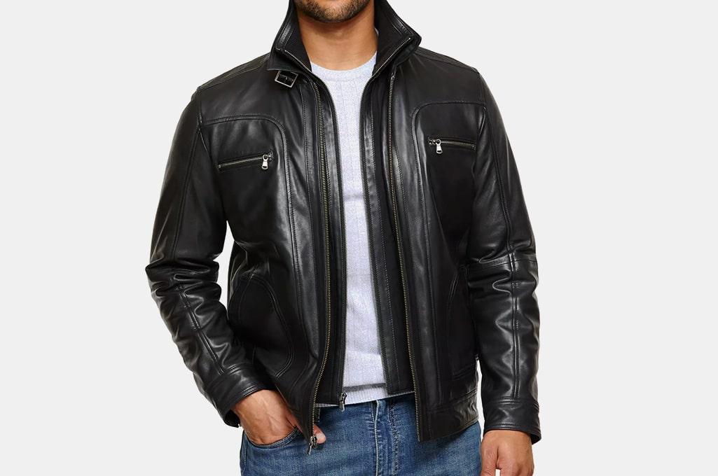 Overland Memphis Lambskin Leather Bomber Moto Jacket