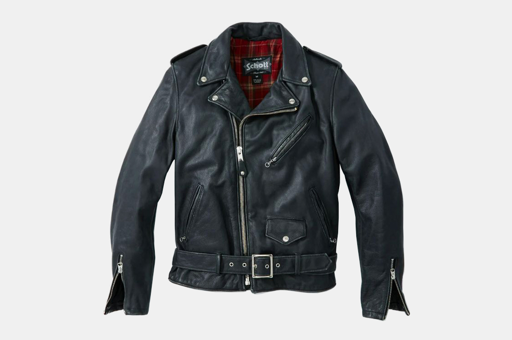 Schott Vintaged Fitted Cowhide Leather Motorcycle Jacket