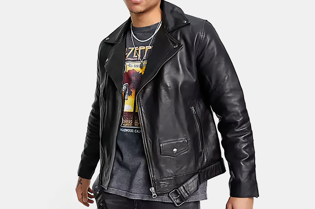 Topman Leather Biker Jacket