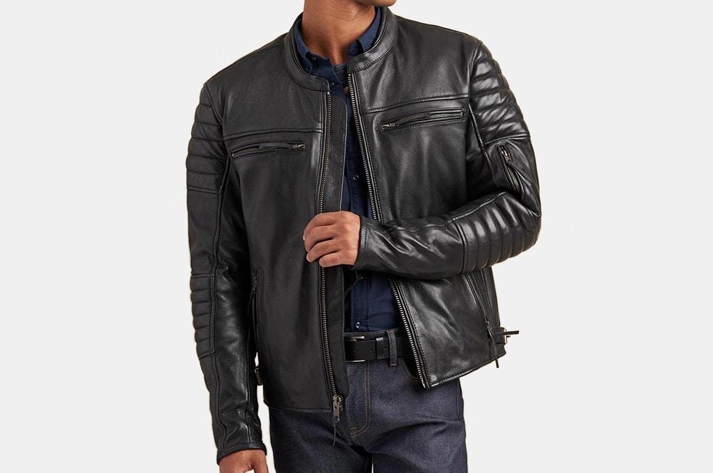 Wilsons Hooded Leather Motorcycle Jacket