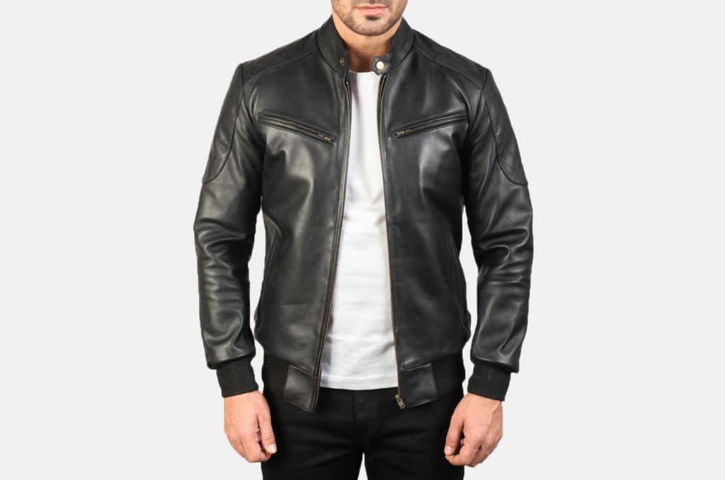 Sven Black Leather Bomber Jacket