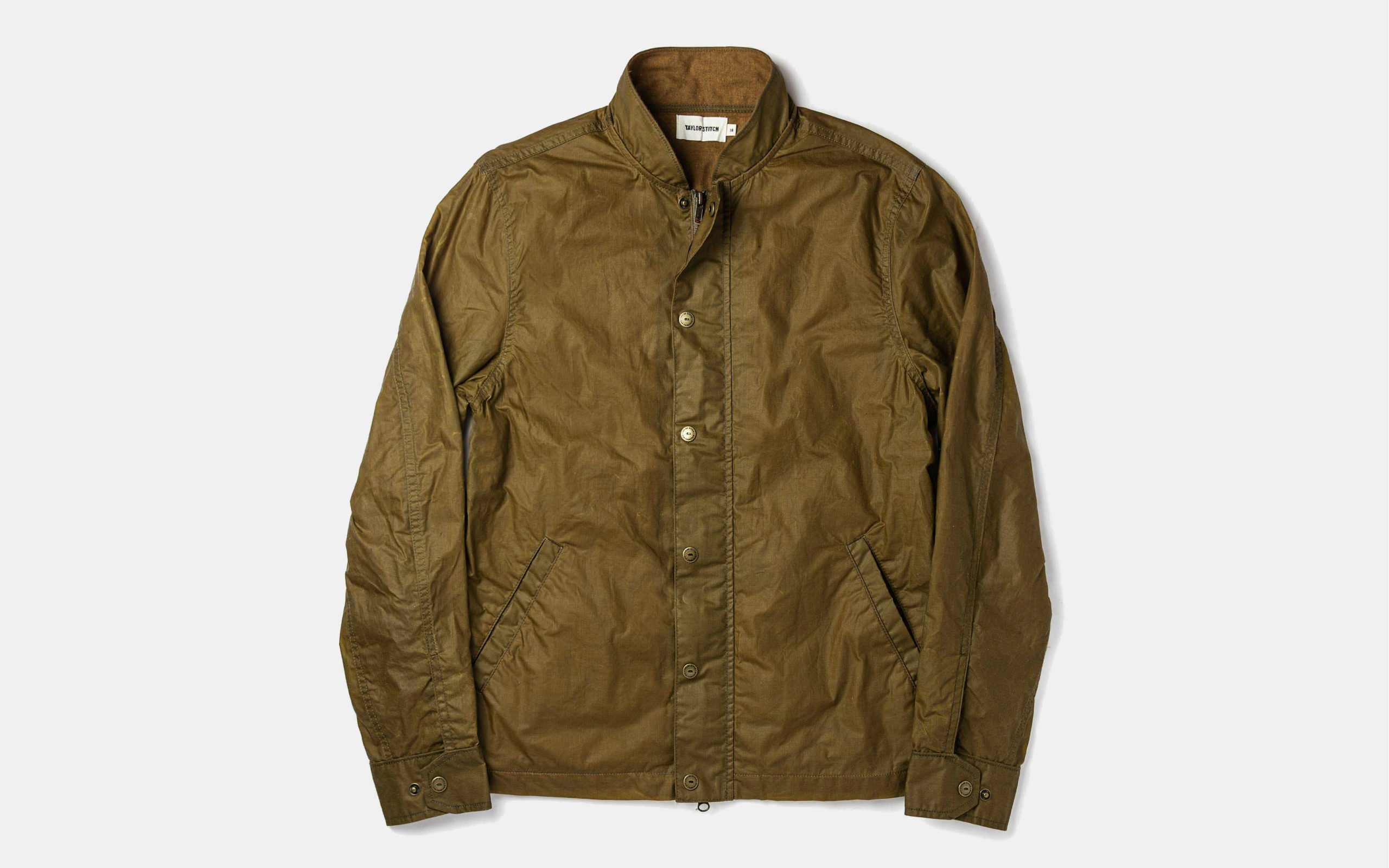 Taylor Stitch Bomber Jacket in Field Tan Wax Canvas