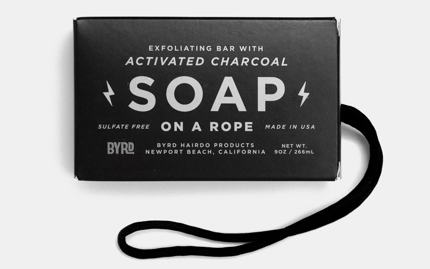 Byrd Activated Charcoal Soap On A Rope