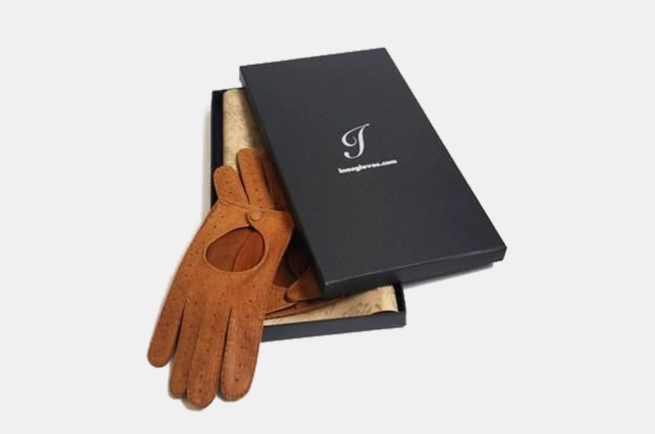 Ines Peccary Leather Driving Gloves