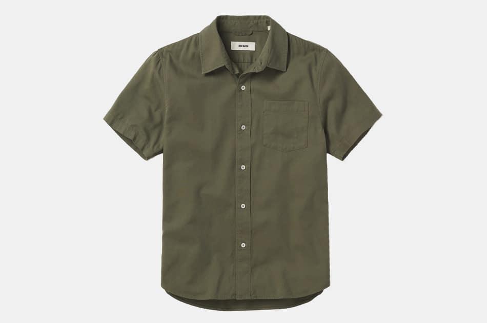 Buck Mason Draped Twill Short Sleeve One Pocket Shirt