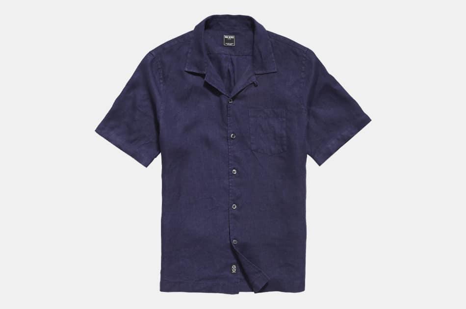 Todd Snyder Irish Linen Camp Collar Short Sleeve Shirt
