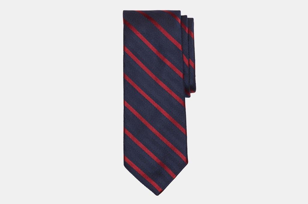 Brooks Brothers Herringbone Ground Bar Stripe Tie