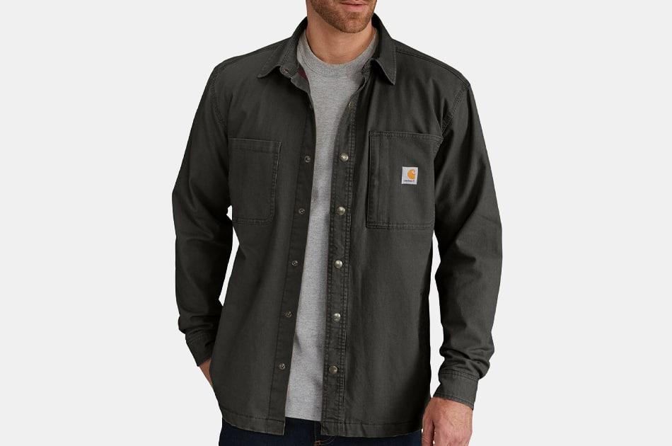 Carhartt Rugged Flex Relaxed Fit Canvas Fleece-Lined Snap-Front Shirt Jacket