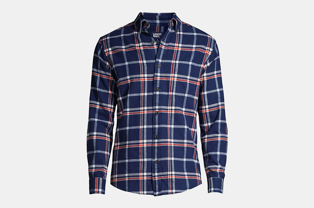 Land's End Men's Slim Fit Pattern Flagship Flannel Shirt