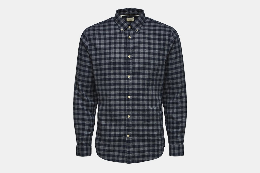 Selected Homme Slim Fit Plaid Flannel Button-Down Shirt