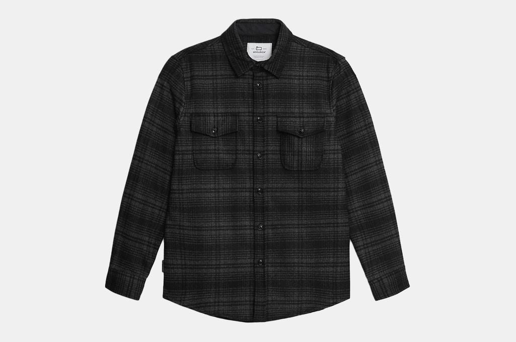 Woolrich Alaskan Melton Shirt In Recycled Italian Wool